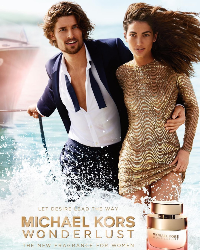 Model Lily Aldridge poses in the sea for Michael Kors Wonderlust ad campaign