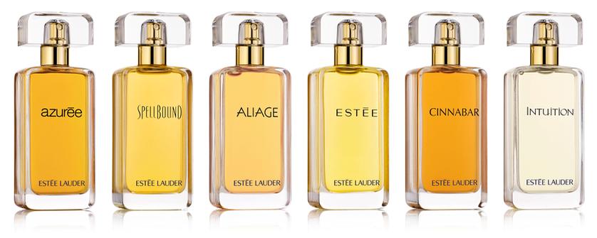 Line-up of six fragrances in the House of Estée Lauder collection
