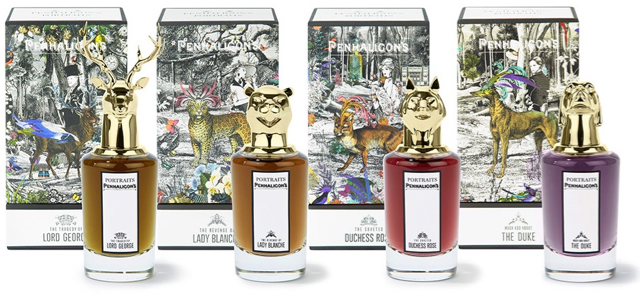 line-up of penhaligons portraits collection of bottles