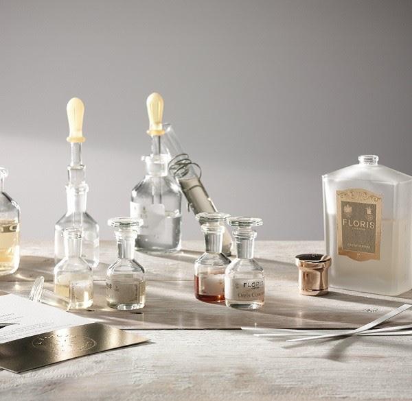 bottles illustrating floris's bespoke perfume customisation experience