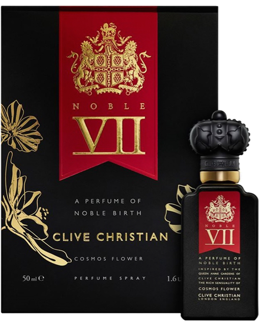 A bottle of Clive Christian Noble Seven Rock Rose perfume