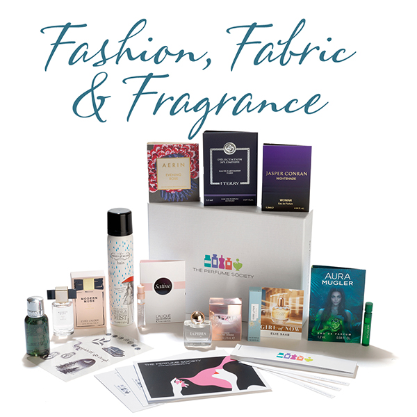 The Perfume Society's Fashion, Fabric & Fragrance Discovery Box, a collection of fragrances that brings together niche and popular scents, each evoking textiles...