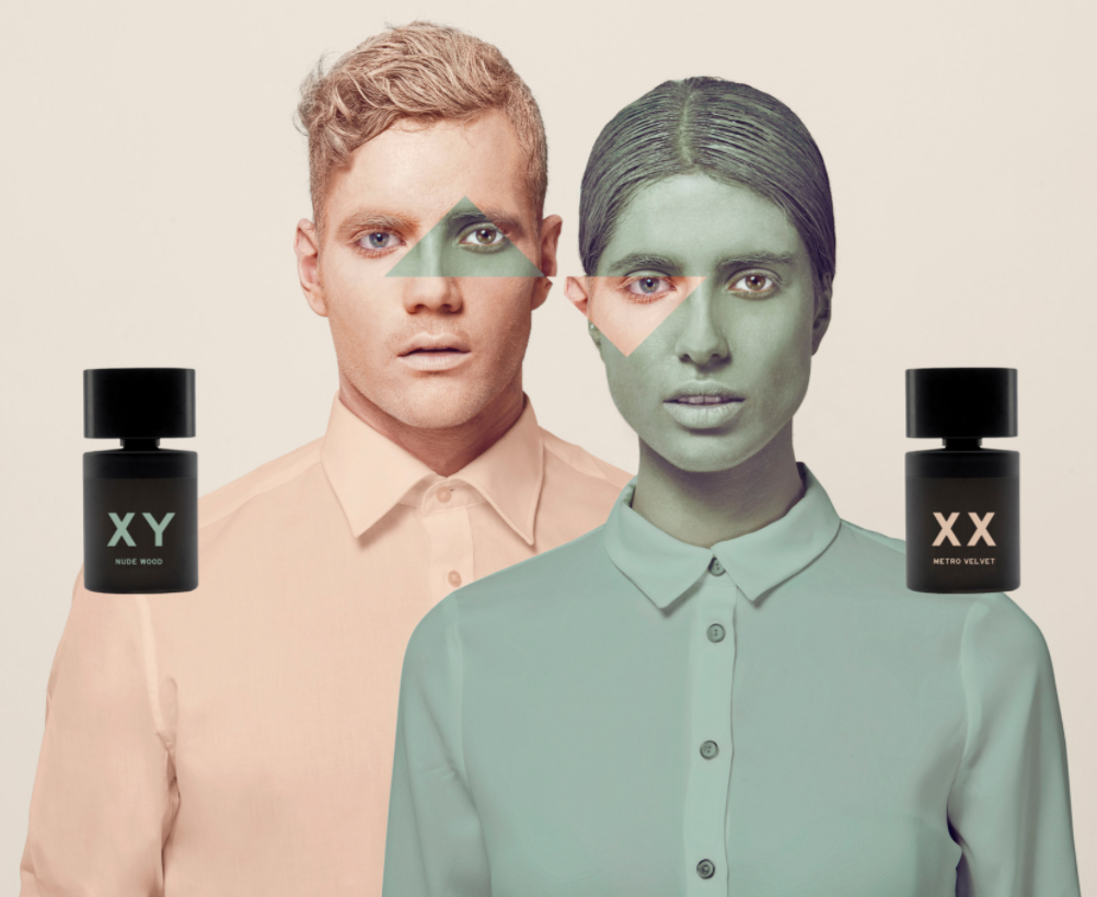 Fragrances from Blood Concept's XX and XY collection on models with strange pastel make-up