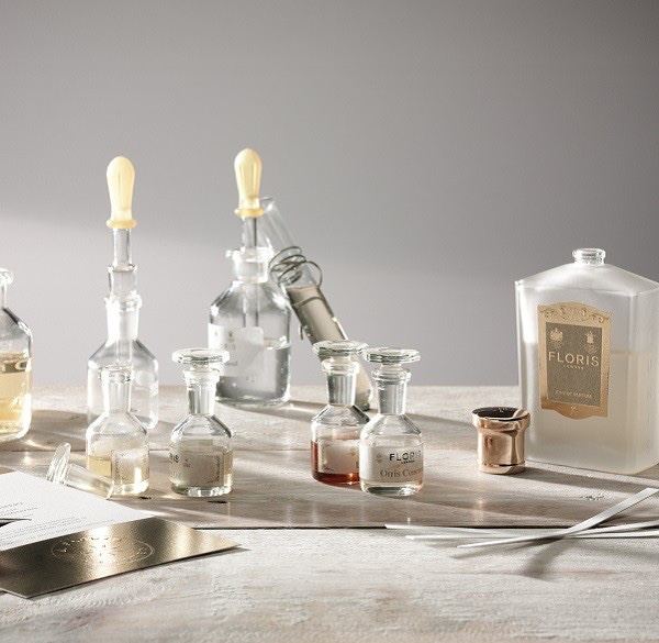 bottles illustrating floris's bespoke perfume customisation experience