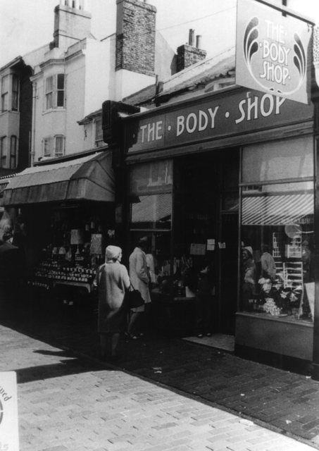 The Body Shop opens its first shop in Brighton, England in 1976 (B/W)