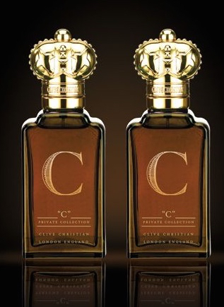 Two bottles of men's and women's Clive Christian C fragrances